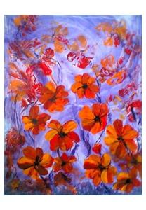 034-w Orangene Blumen